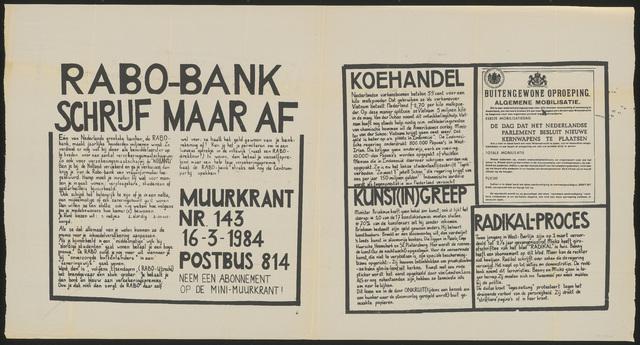 668_1984_143 - Muurkrant: Rabobank schrijft maar af