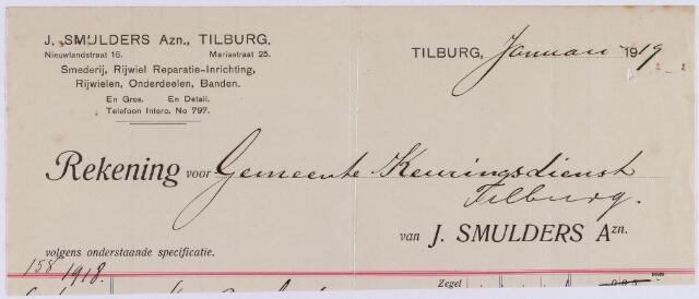 061133 - Briefhoofd. Nota van J. Smulders Azn, smederij en rijwielen, Nieuwlandstraat 16 voor de gemeente keuringsdienst Tilburg