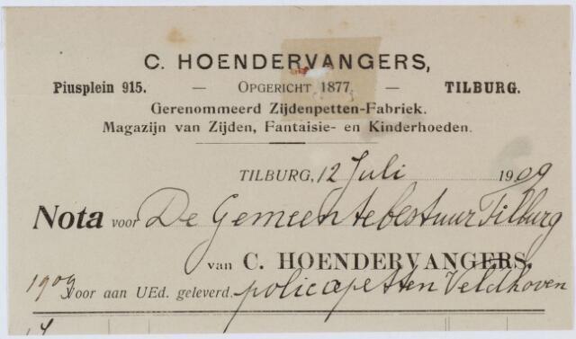 060296 - Briefhoofd. Nota van Firma C. Hoendervangers, Piusplein 18, Hoeden en Pettenfabriek, voor de gemeente Tilburg