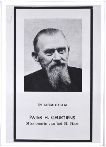 004333 - Bidprentje. Pater Henri Geurtjens M.S.C. geboren Deurne 5 juni 1875, overleden Tilburg 22 december 1957. Missionaris van het Heilig Hart.