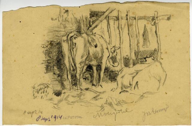 604101 - Tekening van Johannes Elsinga (1893-1969); Een zogenaamde potstal met koeien, getekend in de omgeving van Moergestel tijdens de mobilisatie van de Eerste Wereldoorlog. De Friese kunstenaar Johan Elsinga (1893-1969) was tijdens deze mobilisatie zelf als gemobiliseerd soldaat gelegerd in Moergestel. Moergestel en omgeving werden tussen 1914 en 1916 vastgelegd in potlood en aquarel.