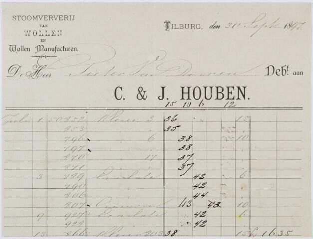 060328 - Briefhoofd. Nota van C. & J. Houben, stoomververij van Wollen en wollen manufacturen, voor Pieter van Doorn te Tilburg