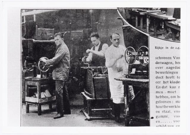 039601 - Firma L.W. van Delft kinderwagenfabriek aan de Telegraafstraat no. 31. afd. montage.  Reproductie uit Brabantse Illustratie