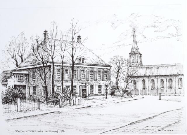 015245 - Tekening. Tekening van de pastorie van het Heike aan de Bisschop Zwijsenstraat.Door H.Corvers.