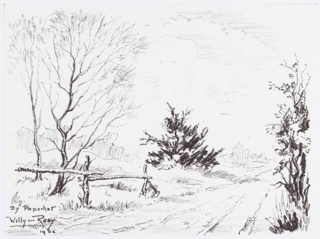 """056327 - Tekening. Tekening uit de serie  """"Goirle en omgeving"""" van Willy van Rooij. """"Bij Papschor"""""""