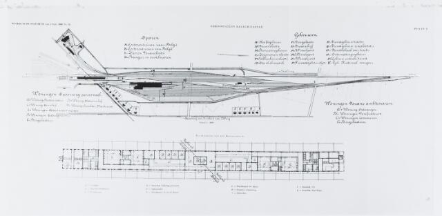 055217 - Tekening. Openbaar vervoer. Spoorwegen. Tekening woningen, sporen en gebouwen. Het nieuw te bouwen station werd gelokaliseerd op de grens van Baarle-Nassau.
