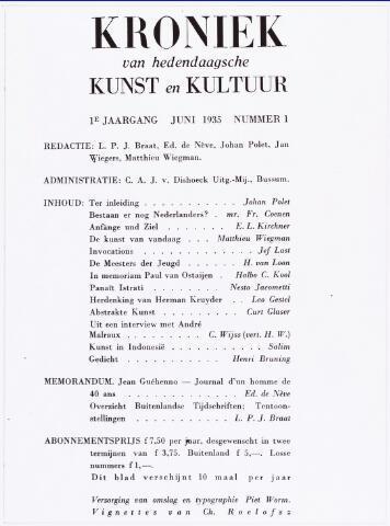 """007393 - Willem Lenglet (pseudoniem Ed de Nève) 1889-1961. Titelblad van het eerste nummer van de """" Kroniek van Hedendaagse Kunst en Cultuur"""" juni 1935"""