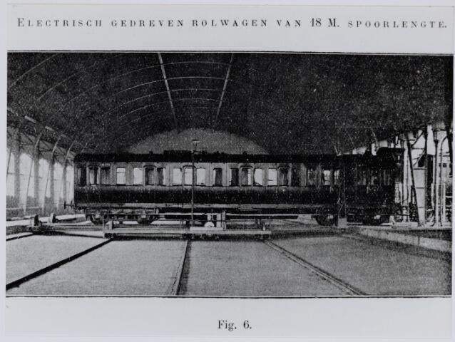 036929 - Spoorwegen, Centrale Werkplaats, Atelier, NS: Een electrisch gedreven rolwagen met een spoorlengte van 18 meter.