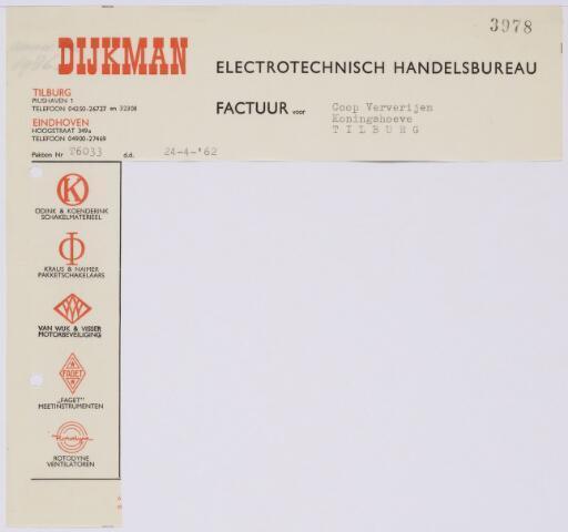 060020 - Briefhoofd. Nota van Dijkman Electrotechnisch Handelsbureau voor Coop Ververijen Koningshoeve