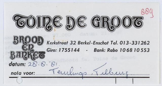 060213 - Briefhoofd. Nota van Toine de Groot, brood en banket, Kerkstraat 32 voor Teulings Tilburg