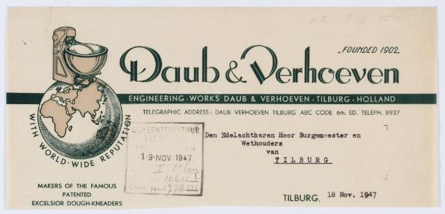 059880 - Briefhoofd. Briefhoofd van Daub & Verhoeven Machinefabriek, Koestraat 214-216, specialiteit Meng- en Kneedmachines