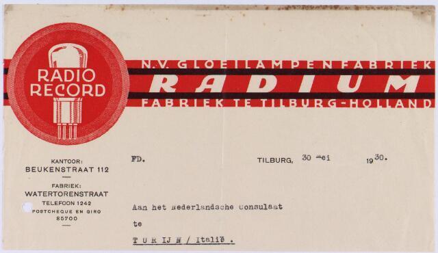 """060946 - Briefhoofd. Briefhoofd van N.V. Gloeilampenfabriek """"Radium"""", Watertorenstraat, kantoor Beukenstraat 112"""