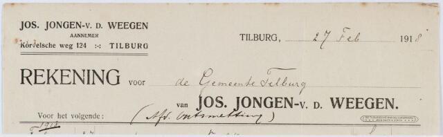 060411 - Briefhoofd. Nota van Jos. Jongen-Heerkens, aannemer, Korvelsche weg 198 voor het regiment Infanterie