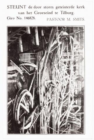 009773 - Op vrijdag 20 september 1929 werd de in aanbouw zijnde parochie kerk Groeseind door storm verwoest. Pastoor M. Smits roept eenieder op d.m.v. pamflet een gift over te maken op giro no. 146828