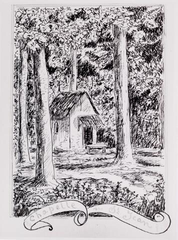 """046524 - Tekening. Tekening van De Meester de Betzenbroeck van de """"chapelle de St. Jean"""" op het Poppelse deel van het landgoed Nieuwkerk."""