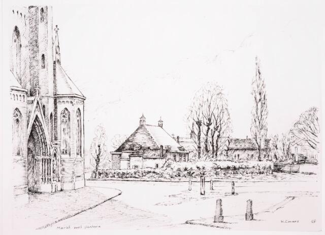 036146 - Ets. Stadhuisplein. Heikese kerk met zicht op pastorie tekening H.C.