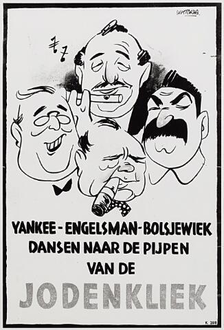 012934 - Tweede Wereldoorlog. Affiches. Spotprent van de nationaal-socialisten op de geallieerde leiders: Franklin D. Roosevelt, Churchill en Stalin dansen naar de pijpen van een Joodse fluitspeler