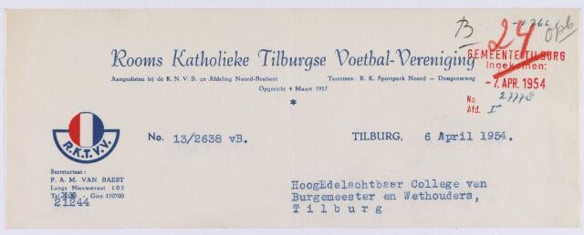 061526 - Briefhoofd. Verenigingen. Briefhoofd van Rooms Katholieke Tilburgse Coetbal-Vereniging ( R.K.T.V.V.), Dongenseweg