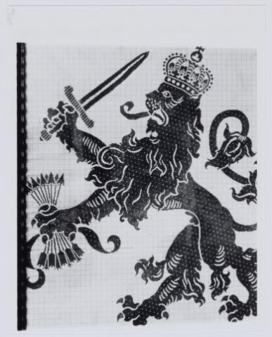 037551 - Textiel. Mozaïek van de Nederlandse leeuw in het kantoor van Brouwers Lakenfabrieken in de Korte Schijfstraat