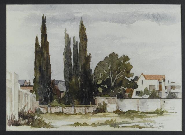 """072169 - Aquarel. Frater Pachalius """"Goirle in aquarel"""". Achterzijde van de Tilburgseweg gezien vanaf het voormalige fabrieksterrein van Pijnenburg's Weverijen. Het pand rechts werd gebouwd door de familie Van Enschot-Willekens."""