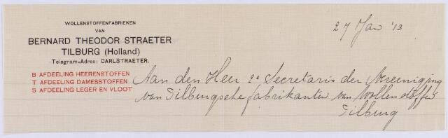 061190 - Briefhoofd. Briefhoofd van Wollenstoffenfabrieken van Bernard Theodor Straeter gericht aan directeur Bernhard T.C. (Carl) Sträter (1861-1920), tweede secretaris van de Verenigng van Tilburgse wollenstoffen.