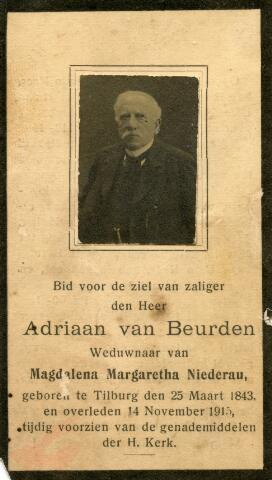 602697 - Bidprentje met foto van hoffotograaf Adriaan van Beurden. Adriaan werd geboren te Tilburg op 25 maart 1843 als zoon van spinner Simon van Beurden en Adriana Maria Vermeer. Adriaan van Beurden was gehuwd met met de Duitse Magdalena M. Niederau en overleed te Dongen op 14 november 1915. Het atelier van de fotograaf aan de Willem II -straat werd voortgezet door zoon Sjef van Beurden.