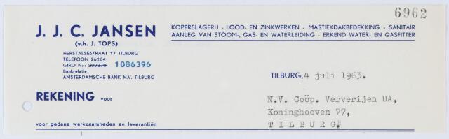 060361 - Briefhoofd. Nota van J.J.C. Jansen, koperslagerij, Herstalsestraat 17 voor N.V. Coöp. Ververijen UA, Koninghoeven 77