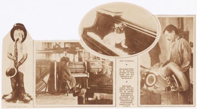 038351 - Krantenknipsel over  Koninklijke Nederlandsche Fabriek van Muziekinstrumenten KONEFA met jongen met een saxofoon, de pianoafdeling, schoothondje op piano en het polijsten van koperen of vernikkeld-koperen instrumenten