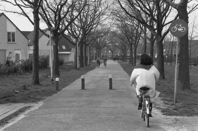 """TLB023000136_002 - Fietsers op de Langendijk die grotendeels als fietspad dwars door nieuwbouwwijk de Reeshof loopt. Foto genomen in kader Reeshof """"gezond beleid""""."""