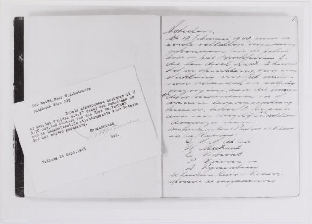 042148 - Bejaardenzorg. Fragment van de eerste notulen van de vergadering van de Stichting St.-Jozefzorg op 18 februari 1948. Bestuurslid W. A. Mutsaers wordt eraan herinnerd dat op 17 september 1948 de stichtingsacte zal passeren voor notaris Mol.