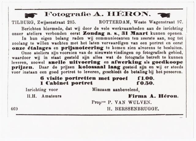 008466 - Advertentie A. Héron (Paul van Wulven en Henri Berssenbrugge) in de ´Tilburgsche Courant´van 24 maart 1901.