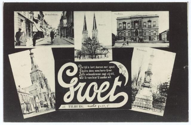 003129 - Boven Heuvelstraat, Heuvel en voormalige gemeentehuis aan de Markt, onder links Markt met Heikese kerk en rechts gedenknaald voor koning Willem II op de hoek Markt-Paleisstraat.