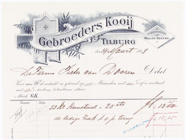 060515 - Briefhoofd. Nota van Gebroeders Kooij, fabrikanten van wollen dekens, voor Pieter van Dooren