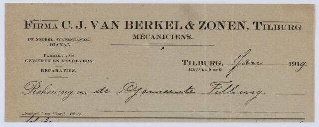 """059604 - Briefhoofd. Nota van Firma C.J. van Berkel & Zonen, Tilburg, Heuvel 8 en 9, Mecaniciens, De Nederl. Wapenhandel """" Diana"""" ; Fabriek van geweren en revolvers; Reparatien, voor de gemeente Tilburg"""