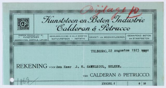 059820 - Briefhoofd. Nota van Kunststeen- en Beton Industrie Calderon & Petrucco, voor J.W. Savelkoul te Geleen