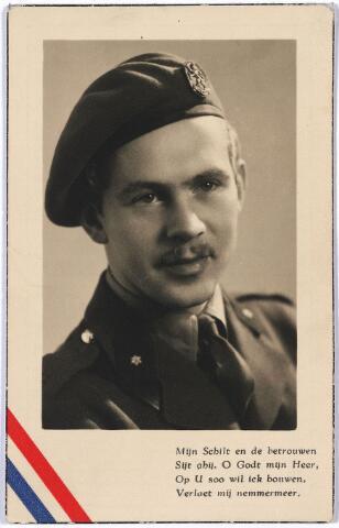 005073 - Bidprentje. Indiëgnager. Jan van LUYK geboren Tilburg 26.11.1924, overleden Soenarskik, Java 21.6.1948), reserve luitenant 4-6 R.I., gesneuveld op Java in de nasleep van de eerste politionele actie.