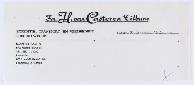 059828 - Briefhoofd. Briefhoofd  van fa.H.v. Casteren, Kloosterstraat 70, expeditie- transport- en veembedrijf,