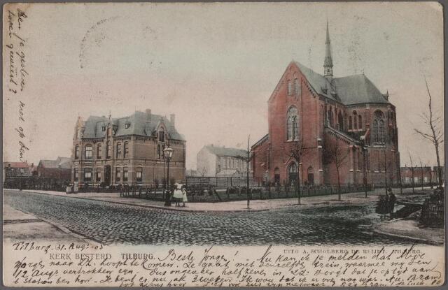 011328 - Kerk en pastorie van de parochie Besterd aan de Koestraat. Rechts de Leonard van Vechelstraat.