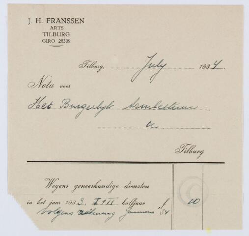 060114 - Briefhoofd. Nota van J.H. Franken, arts, voor het Burgerlijk Armbestuur te Tilburg