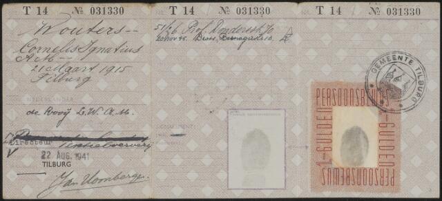 603920 - Persoonsbewijs (achterkant) van Cornelis Igantius A.M. Wouters. Zie nr. 603919