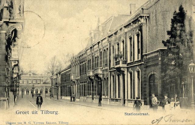 652730 - Tilburg 1902 ongeveer Stationstraat Groet uit Tilburg. Op de achtergrond: Het station.