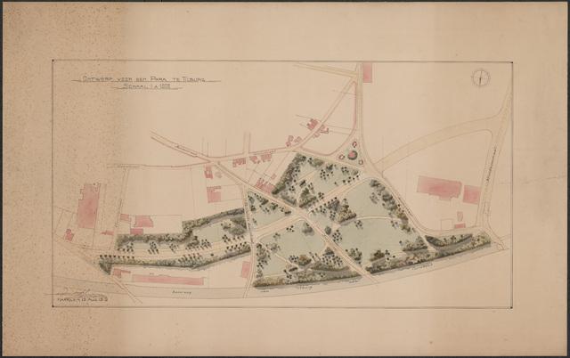 652550 - Ontwerp voor een park tussen de spoorweg naar Turnhout en de Elzenstraat, ingekleurd. Tekening van Leonard Springer. Gesigneerd en gedateerd: 19 augustus 1919.