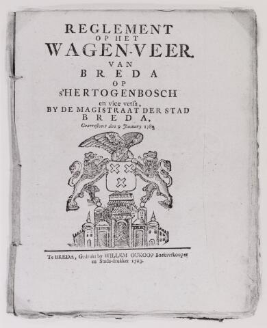 041625 - P.T.T., Postkantoor Tilburg, Telegraaf, postzegels, postbrieven. Reglement op het wagenveer van breda op 's-Hertogenbosch vice versa. dd 9 januari 1783. (R.A.T. inv. 120v)