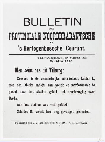 007176 - Krantenartikel Bossche Courant 29 augustus 1900 naar aanleiding van de moord op Marietje, Marietje Kessels (1889-1900) ligt begraven op de begraafplaats van ´t Heike aan de Bredaseweg (graf A 11/45).