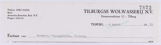061261 - Briefhoofd. Nota van Tilburgse Wolwasserij N.V., Groenewoudstraat 12 voor Ververij Koningshoeven, Koningshoeven 77