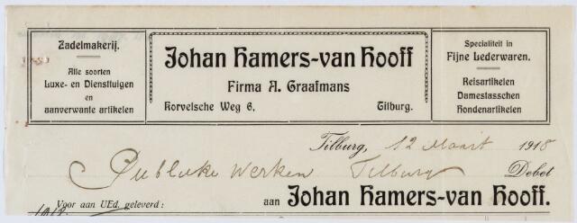060234 - Briefhoofd. Nota van Tilburgsche Zadelmakerij Johan Hamers-van Hooff, Korvelscheweg 6, Firma A. Graafmans, voor publieke werken Tilburg