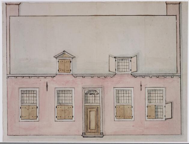045512 - Tekening. Tekening (sepia ingekleurd) behorende bij het bestek voor de verbouwing van het schoolhuis achter de kerk te Goirle.   Boven de deur een rococoversiering.