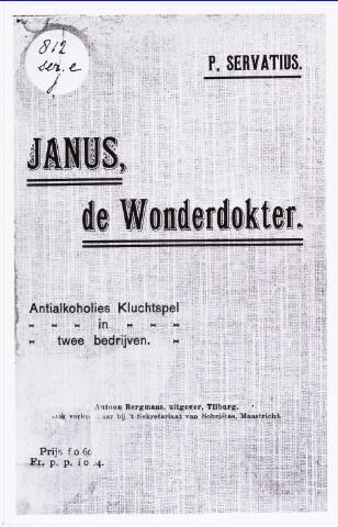 008643 - Drankbestrijding. Affiche van de toneelklucht 'Janus de Wonderdokter' geschreven door pater Servatius van Enschedé in 1907.