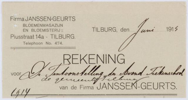 060378 - Nota van Firma Janssen-Geurts, Bloemenmagazijn en Bloemisterij, Piusstraat 14a, voor de tentoonstelling der avond tekenschool van de gemeente Tilburg