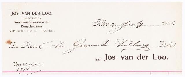 060593 - Briefhoofd. Nota van Jos van der Loo, fabriek van kunstsmeedwerken, Haringseind, voor de gemeente Tilburg